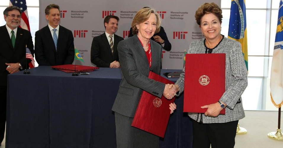 A presidente Dilma Rousseff foi recebida nesta terça-feira por Susan Hockfield, presidente do Massachusetts Institute of Technology (MIT)