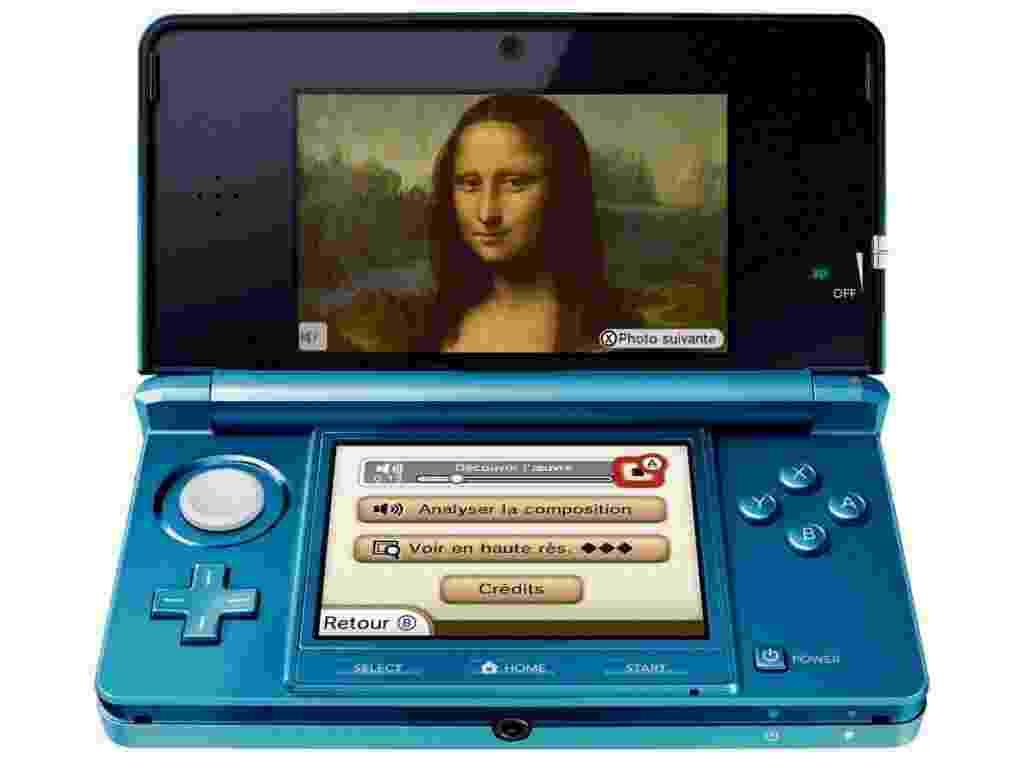 Imagem cedida pelo museu do Louvre, na França, mostra tela de console 3D com imagem do quadro Mona Lisa, um exemplo de como funciona o novo audioguia fornecido pelo museu aos visitantes - Le Louvre/Efe