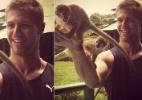 Ex-BBB Jonas tira foto ao lado de macacos em Manaus - Reprodução/Twitter