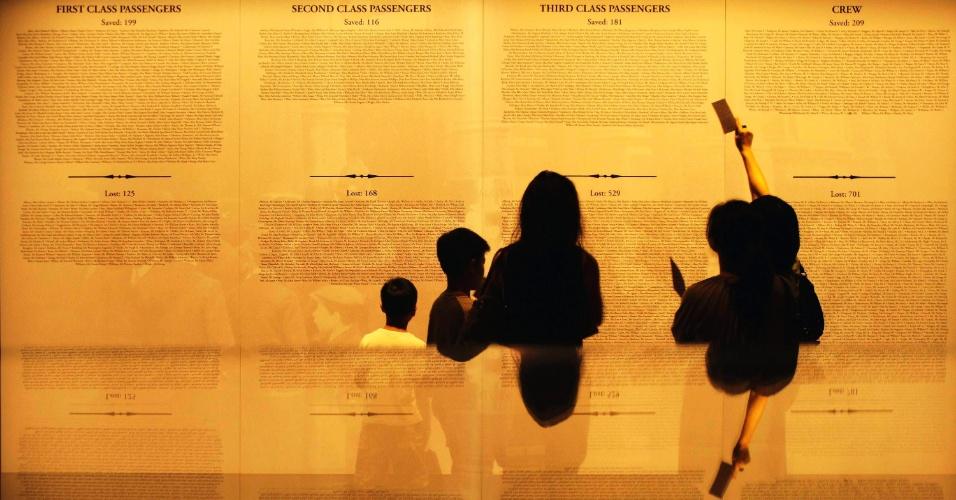 Visitantes olham para a lista de sobreviventes do RMS Titanic, em uma exposição no Museu ArtScience no Marina Bay Sands em Cingapura