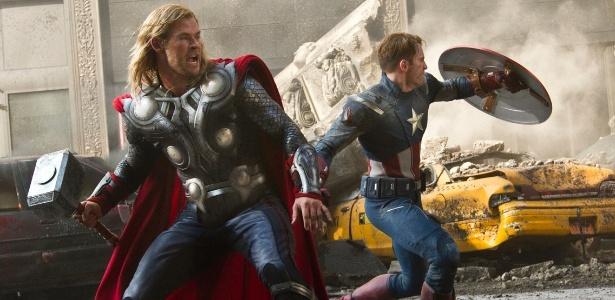 """Em """"Os Vingadores"""", de Joss Whedon, Capitão América (Chris Evans, foto), Thor (Chris Hemsworth) e outros heróis são recrutados pela S.H.I.E.L.D. para salvarem o mundo. O filme estreia em 27 de abril de 2012"""