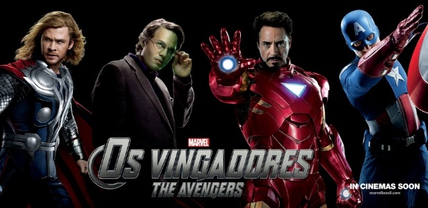 """""""Os Vingadores"""", de Joss Whedon, nova produção dos estúdios Marvel, reúne os heróis dos quadrinhos Thor (Chris Hemsworth), Bruce Banner/Hulk (Mark Ruffalo), Tony Stark/Homem de Ferro (Robert Downey Jr.) e Capitão América (Chris Evans)"""