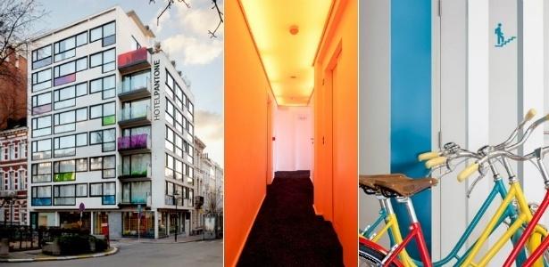 Fachada, corredor e bicicletas do Pantone Hotel, em Bruxelas, na Bélgica. Cores são a atração do projeto - Montagem UOL / Divulgação