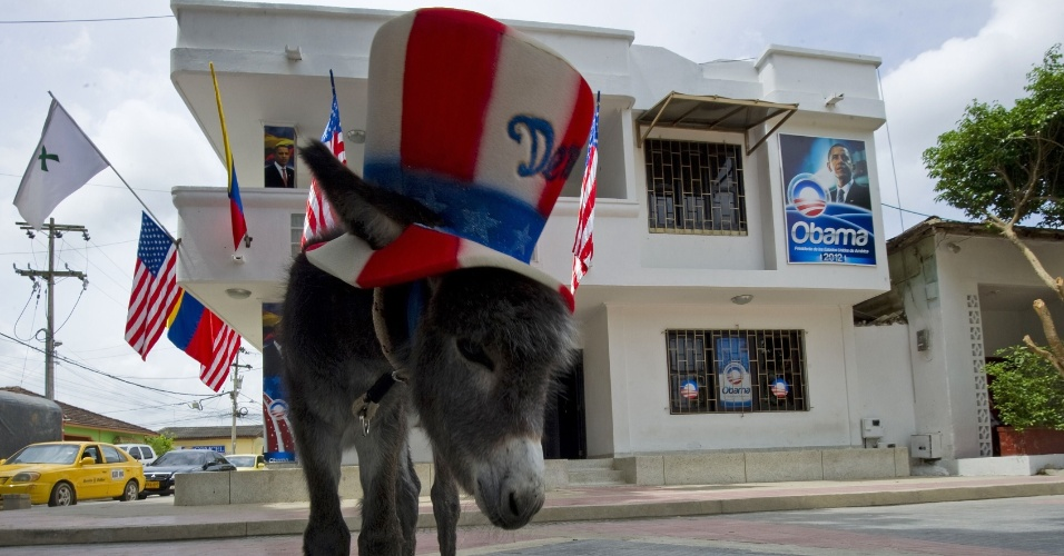 """Demo (de """"Democrata"""") é um burro que o colombiano Silvio Carrasquilla, fã do presidente dos EUA, Barack Obama, pretende dar de presente ao chefe de Estado."""