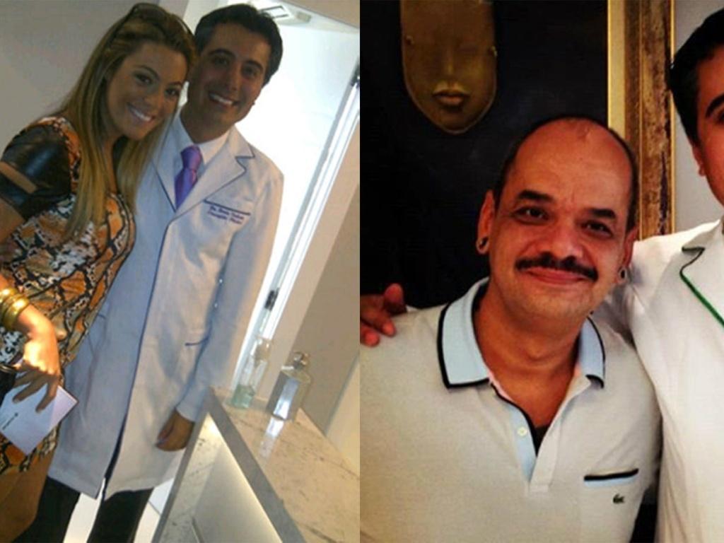 Ex-BBBs Monique e João Carvalho posam com o o cirurgião plástico Dênis Valente, em clínica em Porto Alegre onde fizeram plásticas (04/12). Monique se submeteu a uma lipoaspiração e também fez intervenções no bumbum, seios e nariz. Já João Carvalho aplicou botox.