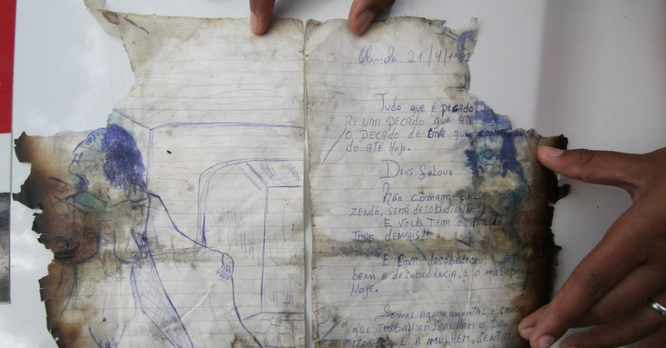 Parte das anotações que narram trechos dos assassinados cometidos em Garanhuns (PE)