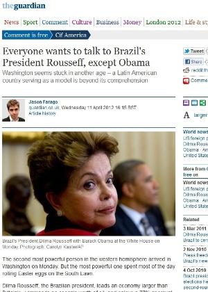 """Reprodução de texto sobre a visita de Dilma aos EUA do site do """"Guardian"""""""