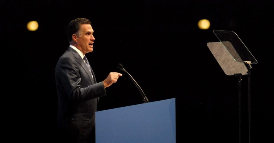 O ex-governador de Massachusetts e pré-candidato republicano à presidência dos Estados Unidos Mitt Romney discursa durante ação de campanha em Saint Louis, nos Estados Unidos