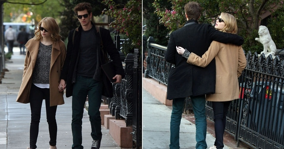 """Os atores Andrew Garfield e Emma Stone passeiam de mãos dadas pelas ruas de Manhattan, em Nova York. Eles atuam juntos em """"O Espetaculat Homem-Aranha"""" (12/4/12)"""