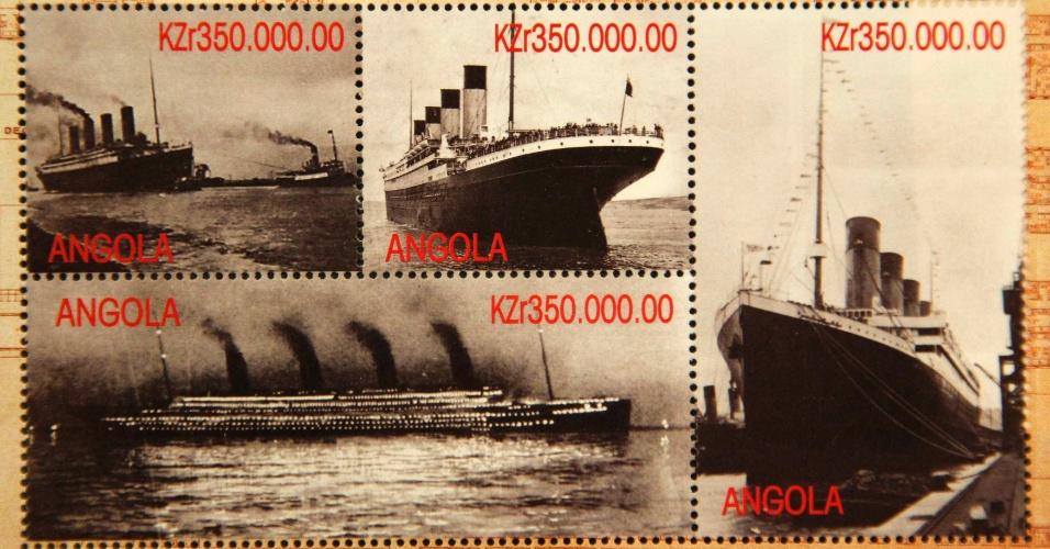 Selos da Angola que formam parte da coleção de Kenneth Mascarenhas reproduzem imagens do Titanic. Mascarenhas é um dos passageiros do cruzeiro memorial que refaz o trajeto do navio histórico