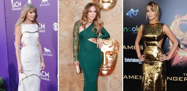 """Taylor Swift, Jennifer Lopez e Jennifer Lawrence investem na tendência dos vestidos """"cut out"""" - Getty Images"""
