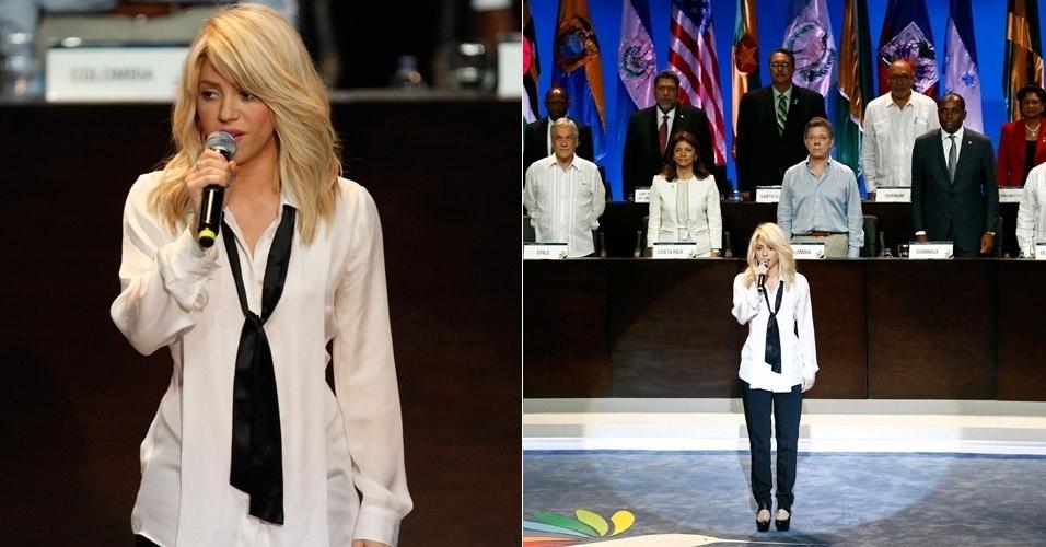 Shakira canta o hino nacional da Colômbia na VI Cúpula das Américas, que reúne os líderes dos países americanos, em Cartegan, Colômbia (14/4/12)