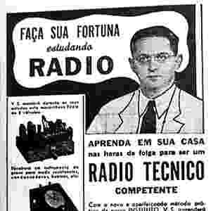 Anúncio de curso de 25 semanas de rádio técnico, em 1942, com fotografia do fundador do Instituto Monitor, Nicolás Goldberger - Instituto Monitor