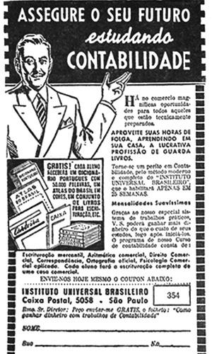 Anúncio do curso de Contabilidade do Instituto Universal Brasileiro, 1944