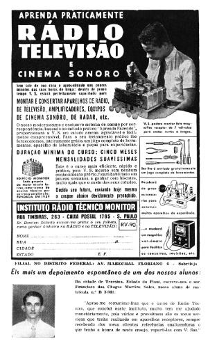 Anúncio do curso de rádio, televisão e cinema sonoro da década de 1950