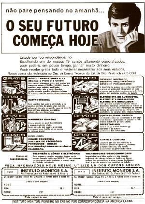 Na contracapa das revistas de fotonovelas, como a Revista Grande Hotel, as escolas de ensino por correspondência faziam sua publicidade; na foto, anúncio em revista de 1971