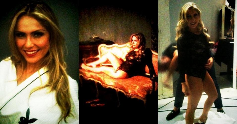 """Ex-BBB Renata aparece nos bastidores de seu ensaio sensual para a """"Playboy"""". A ex-BBB será capa da edição de maio da publicação (16/4/12)"""