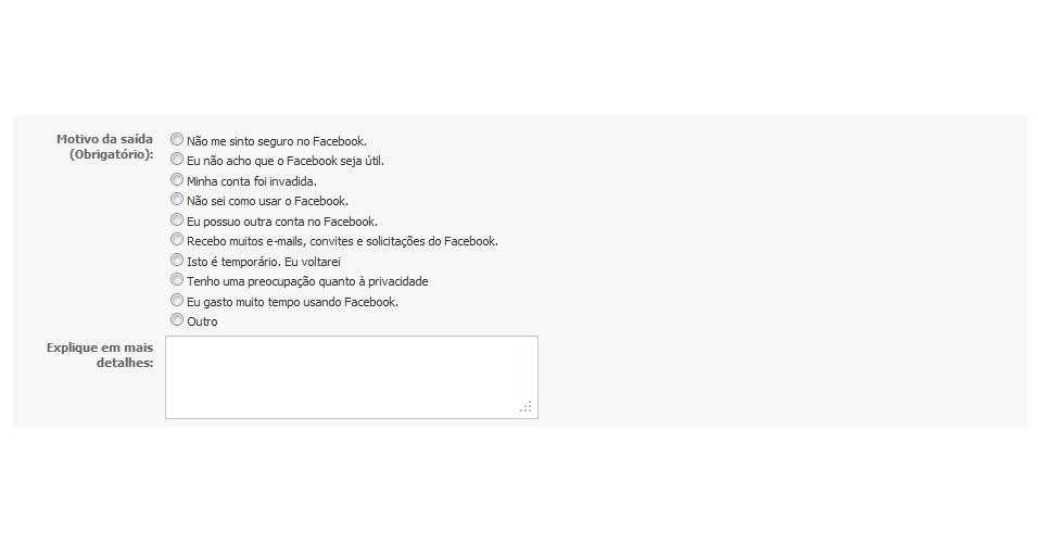 Excluir conta no Facebook