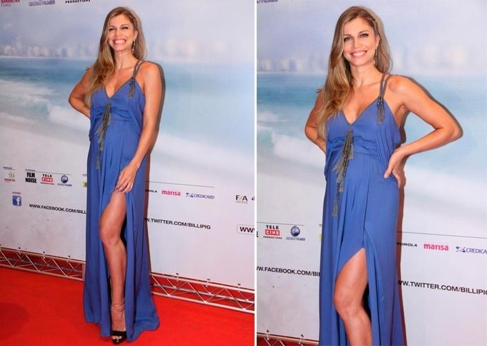 """Grazi Massafera foi a estreia do filme """"Billi Pig"""", usando um vestido azul de modelagem soltinha, com fenda na perna e detalhes pendurados na alça e no centro do busto (27/02/2012)"""