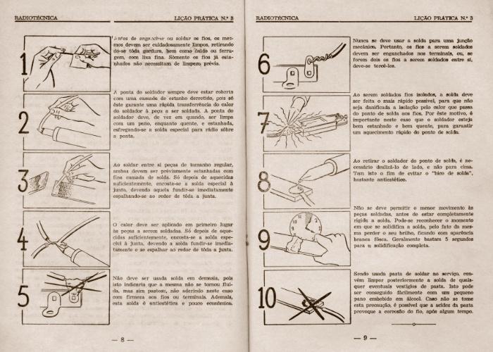 Lição prática do curso por correspondência de rádio técnica, de 1957