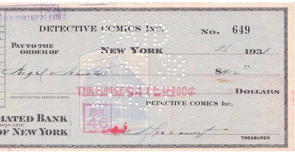 O cheque de US$ 130 pelos direitos autorais da história em quadrinhos Super-Homem, preenchido em 1º de março de 1938, foi arrematado por US$ 160.000 em leilão on-line