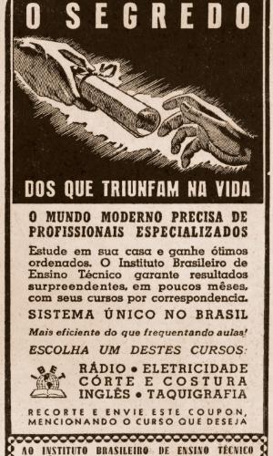 O Instituto Brasileiro de Ensino Técnico também oferecia cursos técnicos de taquigrafia e de inglês. Anúncio da década de 1940