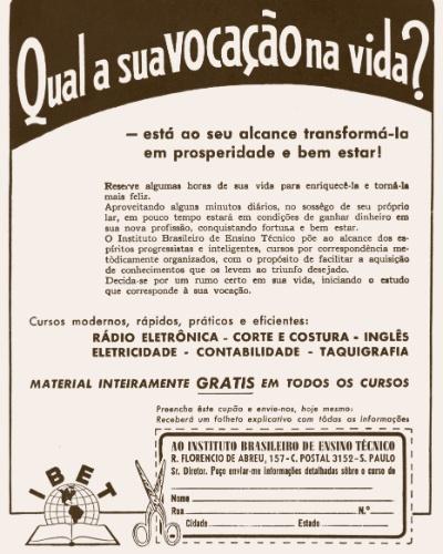 O Instituto Brasileiro de Ensino Técnico também oferecia cursos de taquigrafia e de inglês na década de 1940