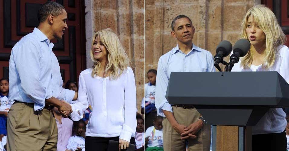 Shakira e Barack Obama participam de evento social na Colômbia (16/4/12)