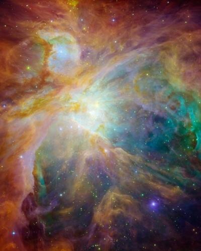 A imagem divulgada pela Nasa (agência espacial americana) mostra jovens estrelas a 1.500 anos-luz na constelação de Órion