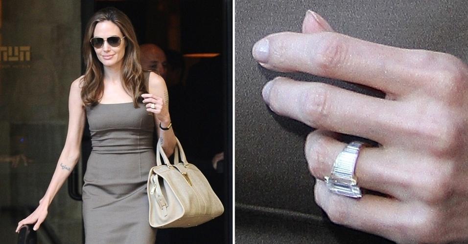 Angelina Jolie é a dona do anel de noivado mais falado do momento. Desenhado por Brad Pitt, o acessório, feito pelo designer de joias Robert Procop, demorou mais de um ano para ficar pronto