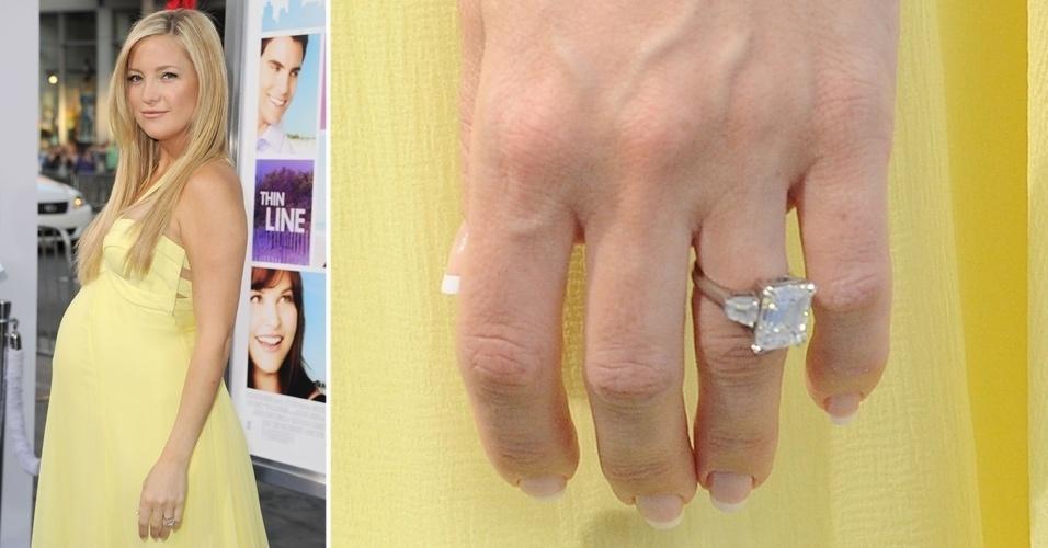 Em abril do ano passado, a atriz Kate Hudson confirmou o noivado com Matthew Bellamy, vocalista da banda Muse. O anel de noivado da atriz possui três diamantes, sendo que o do centro possui formato retangular, além de ser enorme