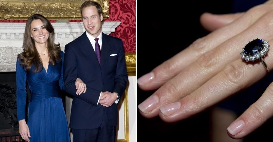 O anel de safira que o príncipe William deu a Kate Middleton também foi usado por Lady Di, no noivado com o príncipe Charles. A peça ainda possui diversos diamantes no entorno da pedra e ganhou réplicas em várias partes do mundo
