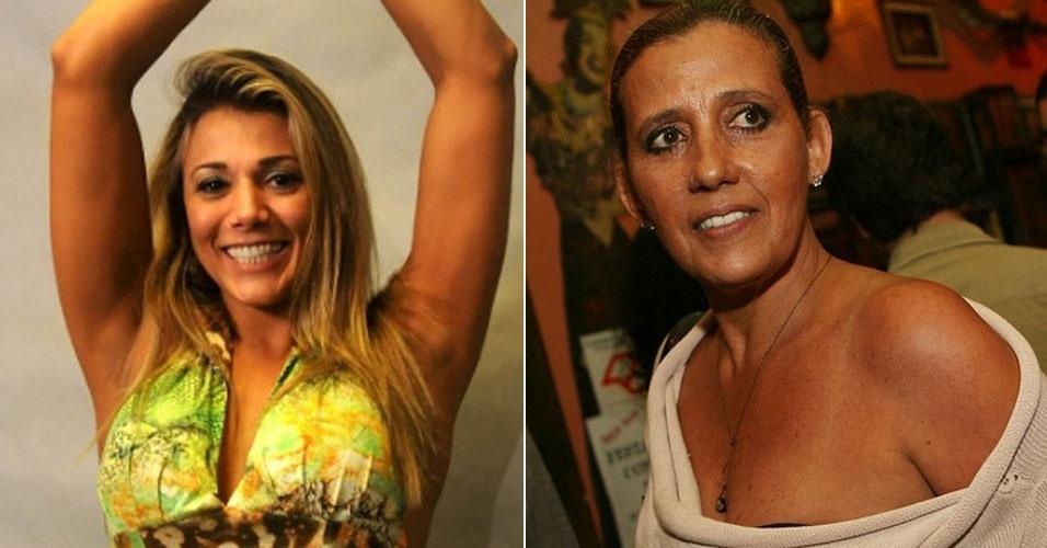 Ex-BBB Fabiana (esq.) pode viver Rita Cadilac (dir.) no cinema