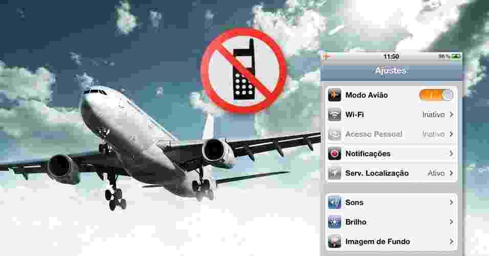 Proibição de uso de eletrônicos durante pousos e decolagens - Arte UOL