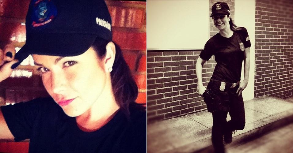 Samara Felippo posa vestida de policial durante gravação de um curta (18/4/12)