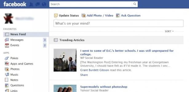 """Em imagem enviada por usuário dá para ver como e onde ficariam os """"Trending Articles"""""""