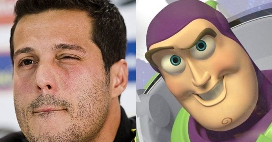 Goleiro Julio Cesar tem as feições do personagem Buzz Lightyear, do filme Toy Story