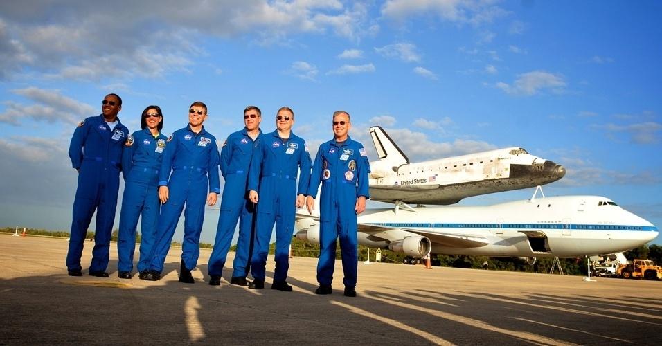 Os últimos tripulantes do Ônibus espacial Discovery