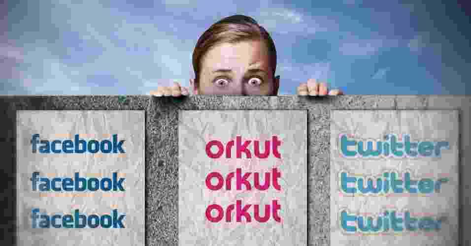 Chamada para álbum sobre privacidade em redes sociais (Facebook, Orkut e Twitter) - Arte UOL