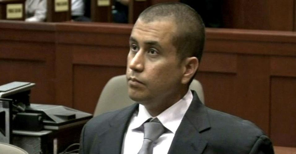 Reprodução de TV mostra George Zimmerman, acusado de matar o adolescente Trayvon Martin, durante audiência em corte da Flórida (EUA) nesta sexta-feira (20), em que pediu para ser solto sob fiança