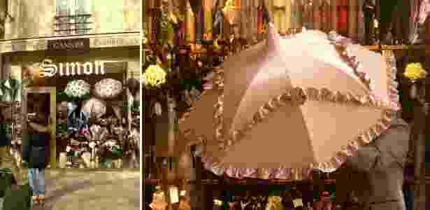 Fachada e interior da Parapluies Simon, uma das mais antigas lojas de guarda-chuvas do mundo - Regiane Teixeira/UOL