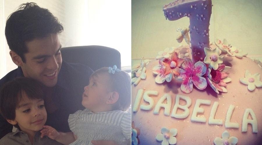 Kaká posa para foto com os filhos Luca e Isabella (24/3/12)