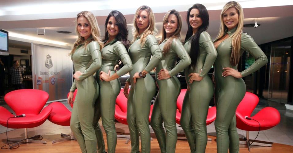 Candidatas a Gata da Fórmula Indy compareceram ao programa Encontro de Craques, do Bandsports