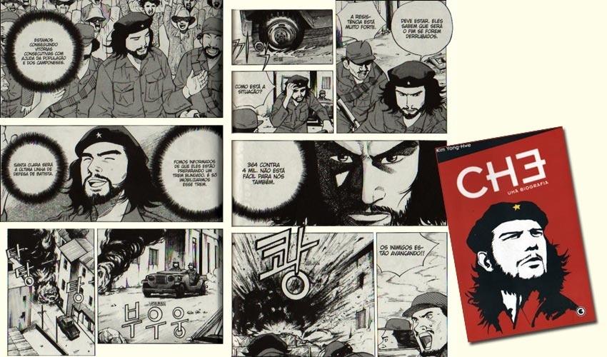"""O revolucionário Ernesto """"Che"""" Guevara lutou pelo socialismo, mas acabou se tornando um fenômeno de consumo da sociedade capitalista. Sua imagem está estampada nos mais diversos tipos de produtos comerciais, de biquínis a latas de cerveja. O guerrilheiro também já virou herói de história em quadrinhos, por obra de um roteirista e desenhista sul-coreano, que faz de Che um super-herói."""