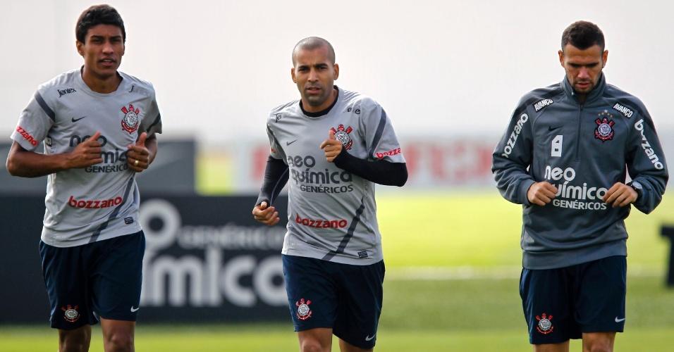 Paulinho, Emerson e Castan fazem treino físico dois dias após a eliminação no Paulista