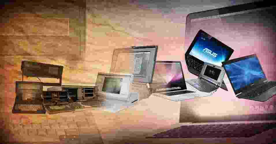 Arte para chamada de álbum sobre evolução do peso de computadores móveis - Arte UOL