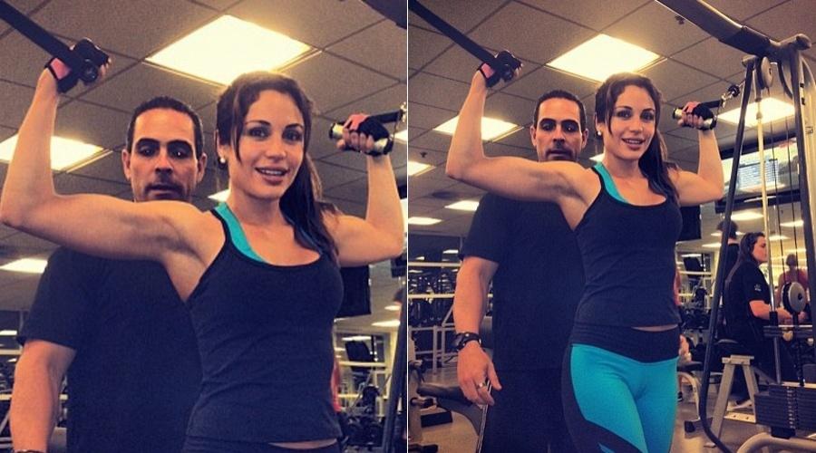 Maria Melilo mostra foto de treino em academia (25/4/12)