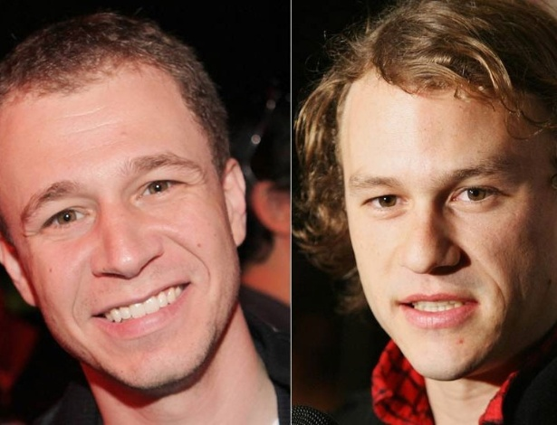 Tiago Leifert (esq.) e Heath Ledger (dir.)