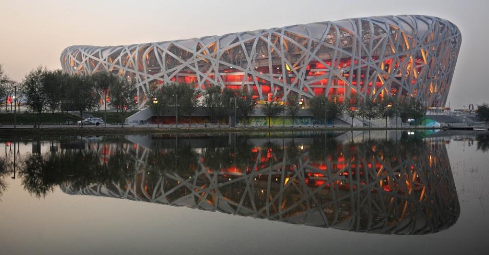 Estádio olímpico de Pequim-2008, Ninho de Pássaro é  visto do lado de fora
