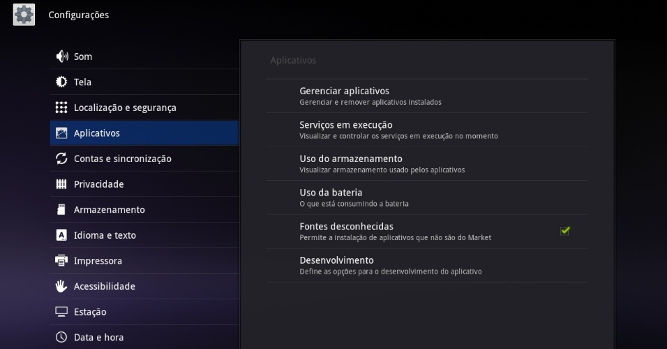 Print da tela do tablet Motorola Xoom 2 com sistema Android Honeycomb